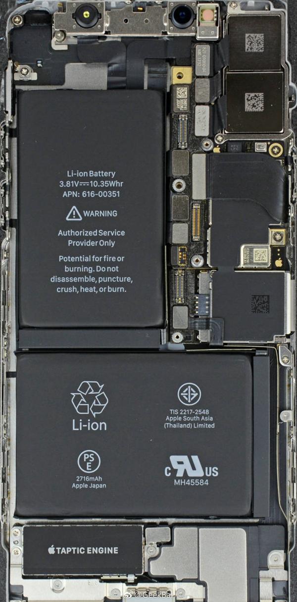 今日,苹果第三方维修服务商geekbar放出了iphone x和三星note 8的内部