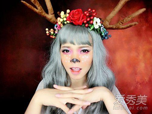 圣诞麋鹿妆画法步骤详解