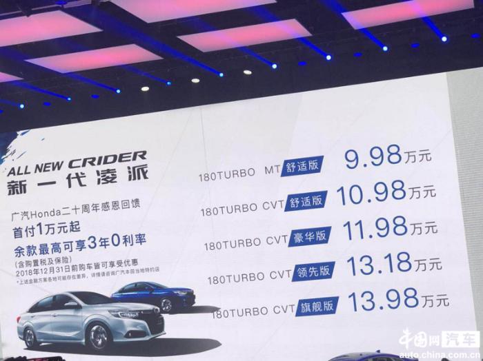 广汽本田全新一代凌派上市 售价区间9.98–13.98万元