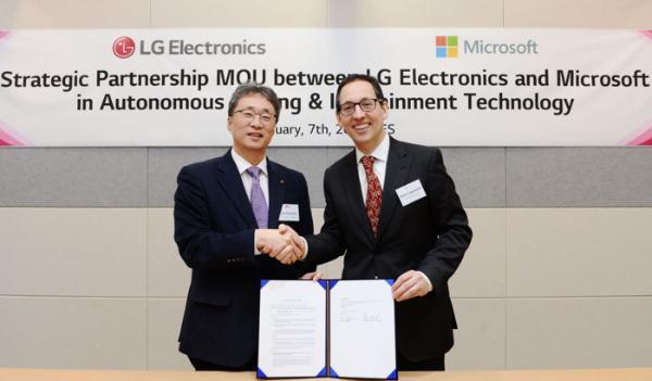 LG合作微软 发展自动驾驶汽车和信息娱乐系统业务