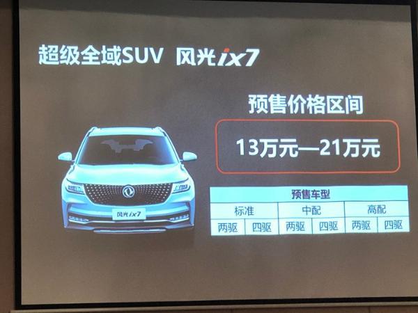 东风风光ix7预售13-21万元 尺寸比汉兰达还大 配2.0T+6AT动力