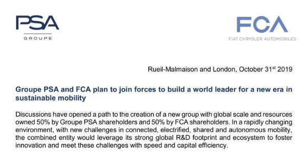 PSA与FCA合并 各占股50% 将成为欧洲第三大汽车集团