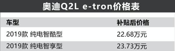 奥迪Q2L e-tron/e-tron上市,售22.68万起/最大续航470km