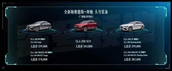 奔驰全新CLA家族正式上市 售29.98-38.18万元/猎跑版首次引入国内