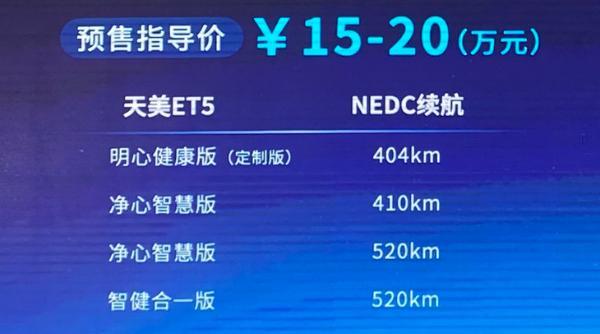 天美ET5正式开启预售 预售15.00-20.00万元