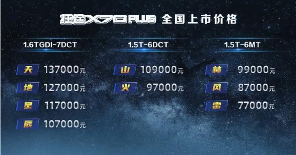 捷途X70 PLUS售7.7-13.7万元 外观内饰多处升级