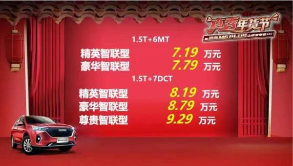 哈弗M6 PLUS正式上市 售价区间7.19-9.29万元