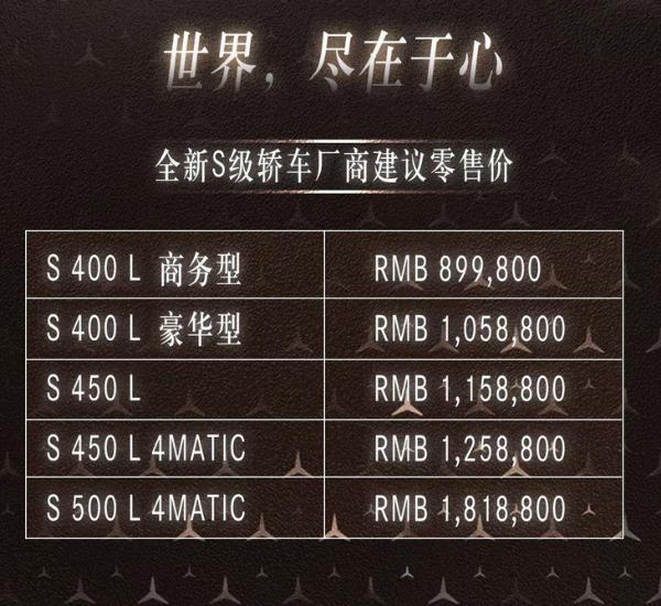 新一代奔驰S级正式上市价格区间8998-18188万元
