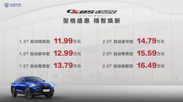 长安CS85 COUPE正式上市 售价区间11.99万—16.49万