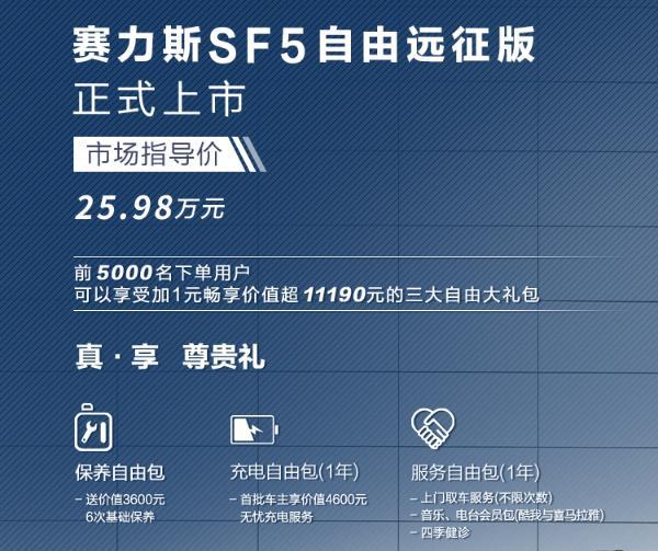 1000+km续航只要25.98万 赛力斯SF5自由远征版上市
