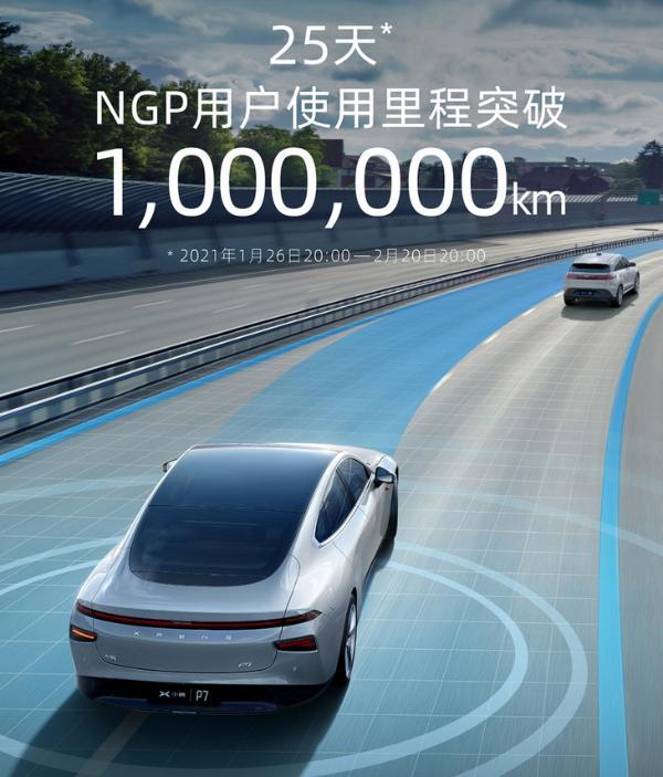 肖鹏汽车NGP发布的最新数据已超过100万公里