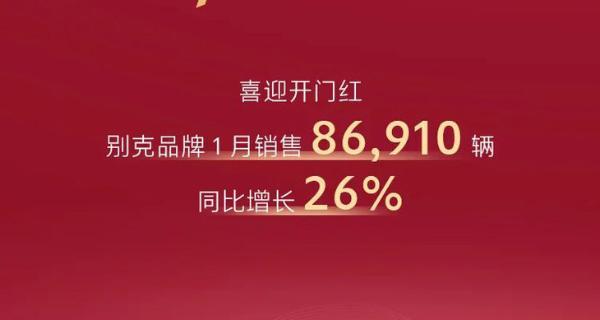 上汽通用别克1月份销量公布 月销量突破8.69万辆 同比增长26%