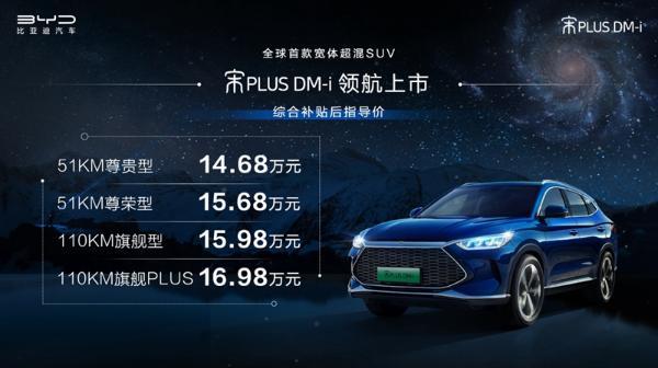 比亚迪宋PLUS DM-i正式上市为14.68万元-16.98万元