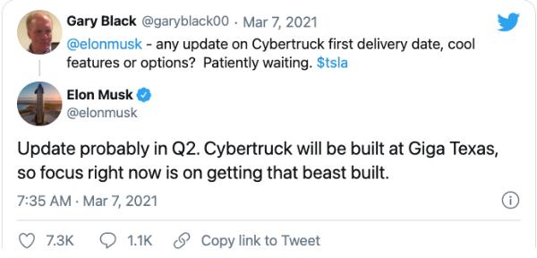 马斯克:特斯拉可能会在第二季度发布赛博卡车更新
