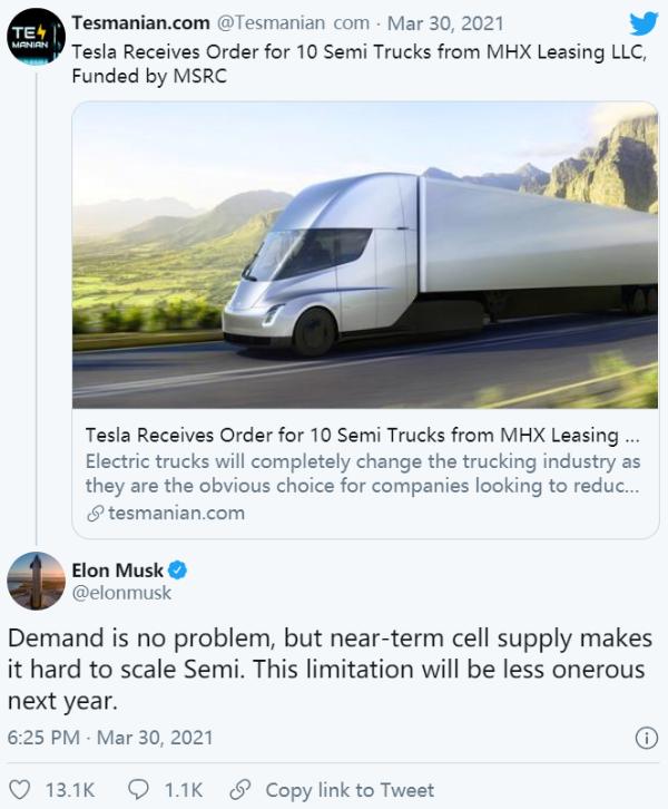 马斯克:需求不是问题,但电芯限制影响Tesla Semi生产