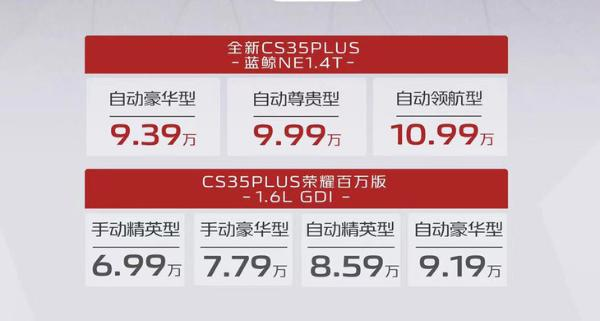 新款长安CS35PLUS正式上市 售价6.99万元起 采用最新设计语言