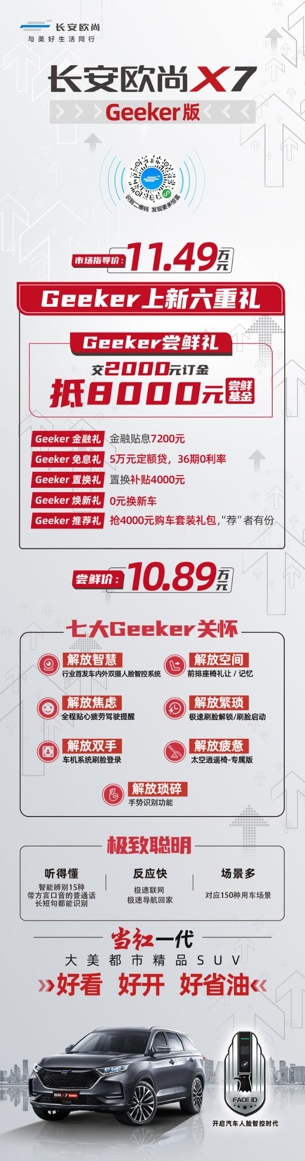 支持人脸识别 长安欧尚X7 Geeker版正式上市 售价11.49万元