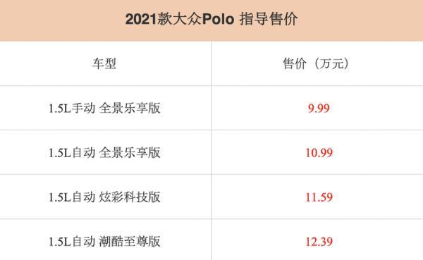 2021款大众Polo正式上市 售价区间9.99—12.39万元