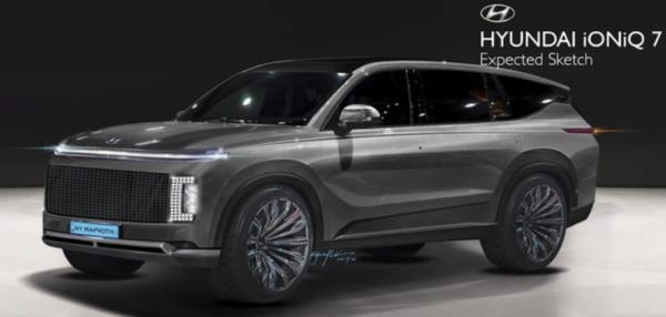 现代汽车IONIQ 7渲染图曝光 基于E-GMP平台打造