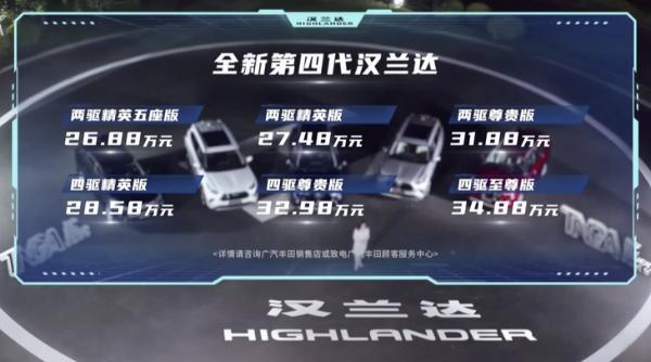 广汽丰田新汉兰达正式上市价格区间26.88-34.88万