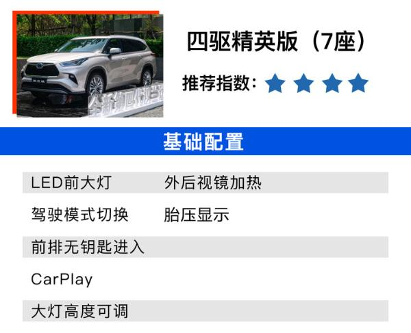 全新丰田汉兰达购车手册 四驱尊贵版值得买