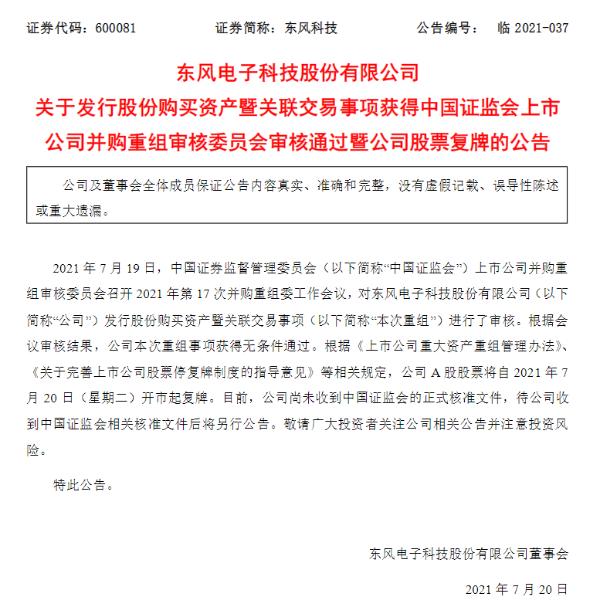 东风科技吸收合并东风零部件集团旗下9家公司获批