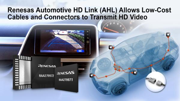 瑞萨电子推出全新汽车摄像头解决方案 使用低成本电缆和连接器即可传输高清视频