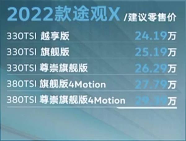 2022款途观X正式上市 售价区间为24.19-29.39万元