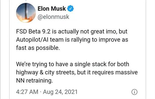 马斯克:特斯拉自动驾驶软件还不够好