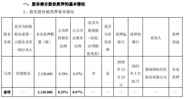 搜于特控股股东马鸿质押212万股 用于补充质押