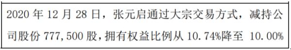 南方制药股东张元启减持77.75万股 权益变动后持股比例为10%