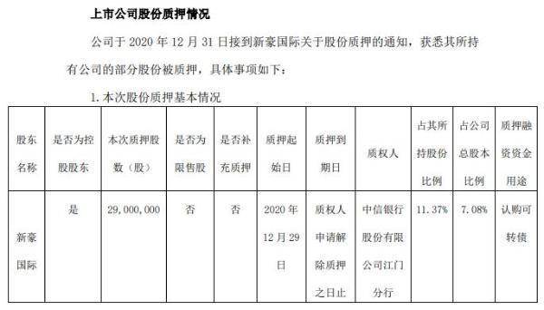 世运电路股东新豪国际质押2900万股 用于认购可转债