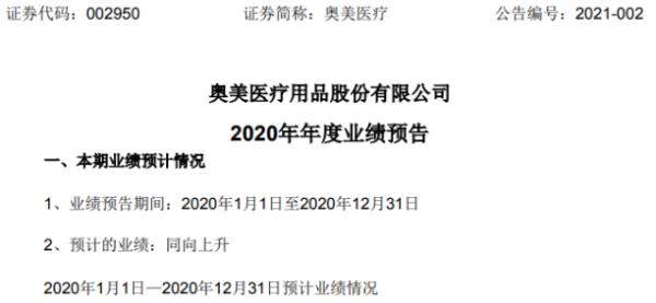 奥美估计2020年净利润11.5-12亿 增长253%-268.38% 感染防护产品的销量大幅增长