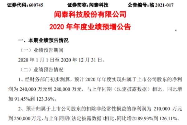 闻泰科技2020年预计净利24亿-28亿增加91.45%-123% 国际一线品牌客户出货实现增长