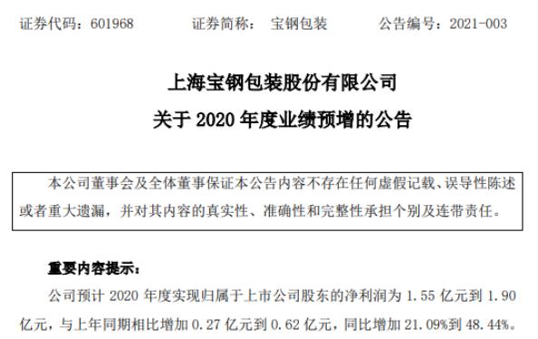宝钢包装2020年预计净利1.55亿-1.9亿增加21%-48% 生产经营整体稳定顺行