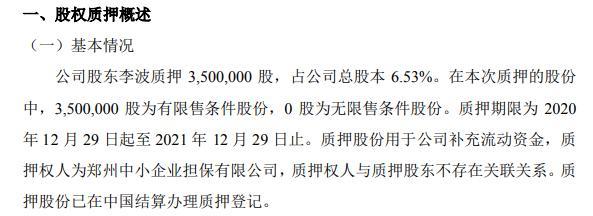 森电电力股东李波质押350万股 用于补充流动资金