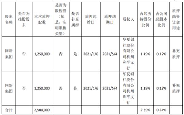 浙大网新股东网新集团质押250万股 用于补充质押
