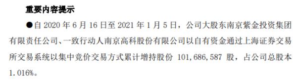 南京银行2名股东合计增持1.02亿股