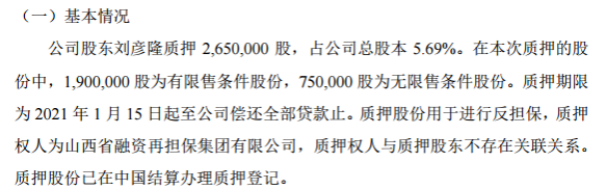 智林股份股东刘彦隆质押265万股 用于反担保