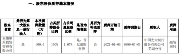 三只松鼠控股股东燎原投资质押669.6万股 用于融资周转