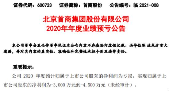 首商股份预计2020年亏损3000万-4500万元 由盈利转为亏损的金街分店金街购物广场关闭