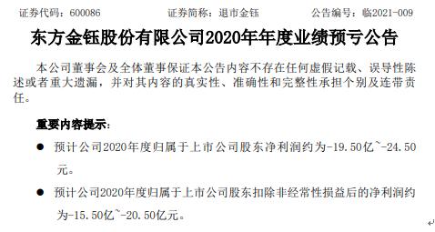 退市金玉预计2020年亏损19.5-24.5亿 部分玉石产品出现减值迹象