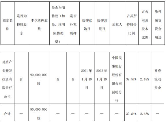 红塔证券股东昆明产投质押9000万股 用于补充流动资金