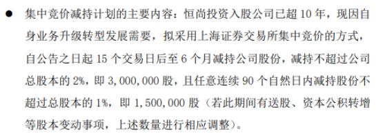 嘉诚国际股东恒尚投资拟减持股份 预计减持不超总股本2%