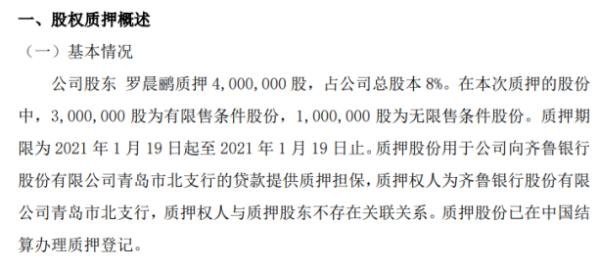 青鸟软通股东罗晨鹂质押400万股 用于公司向齐鲁银行的贷款提供质押担保