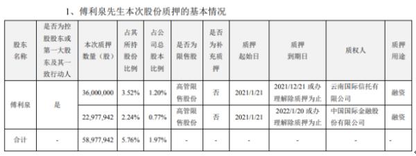 大华股份控股股东傅利泉质押5897.79万股 用于融资