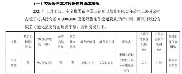 通化东宝控股股东东宝集团质押6100万股 用于补充流动资金