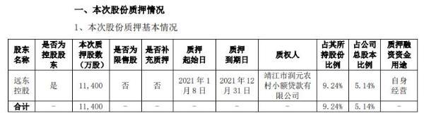 远东股份控股股东远东控股质押1.14亿股 用于自身经营
