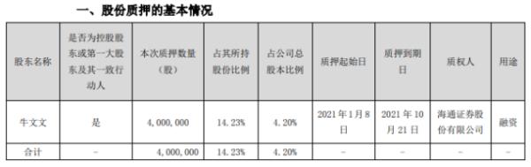 创业黑马控股股东牛文文质押400万股 用于融资