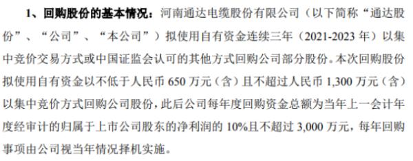 通达股份将花不超1300万元回购公司股份 用于股权激励